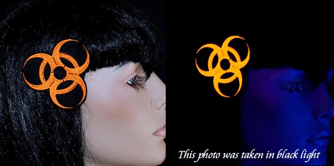 Cyber Biohazard Neon Embroidered Hair Snap Clip Custom